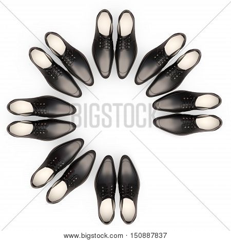 Business team. Men's shoes are located in the form of a circle. One couple is absent.3D illustration