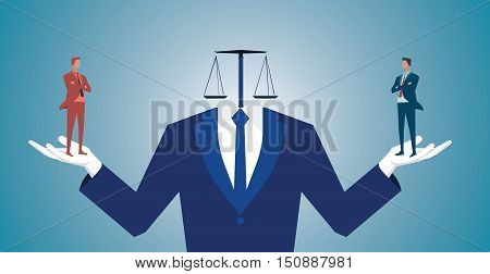 Businessman Confused Between Being Good Or Bad .concept Business Illustration. Vector Flat