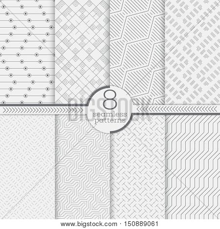 Set of eight seamless patterns. Modern stylish textures. Regularly repeating geometrical ornaments with different geometric shapes. Thin line. Zigzag. Rhombus. Diamond. Dot