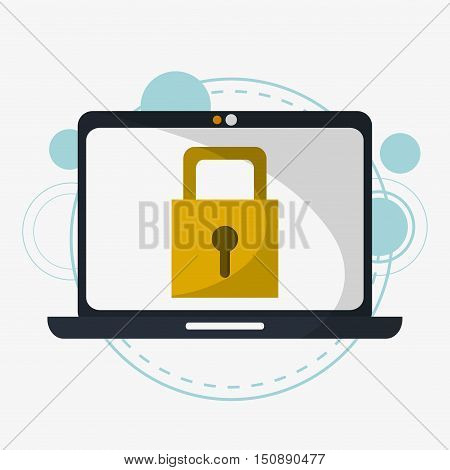 Laptop and padlock icon. Security system warning and protection theme. Colorful design. Vector illustration