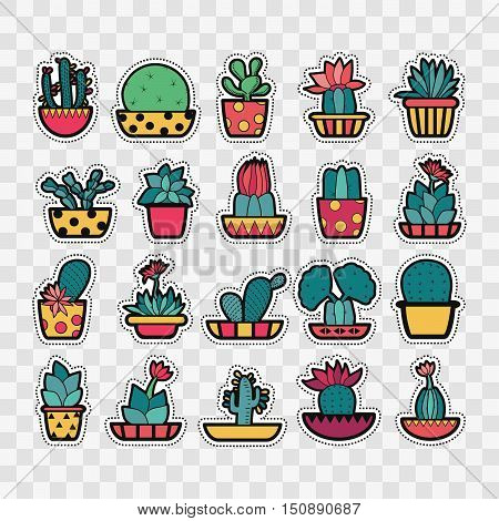 Set of Fashion patch badges with cute succulents and cactus in pot. Perfect design for stickers pins embroidery patches. Vector illustration isolated.