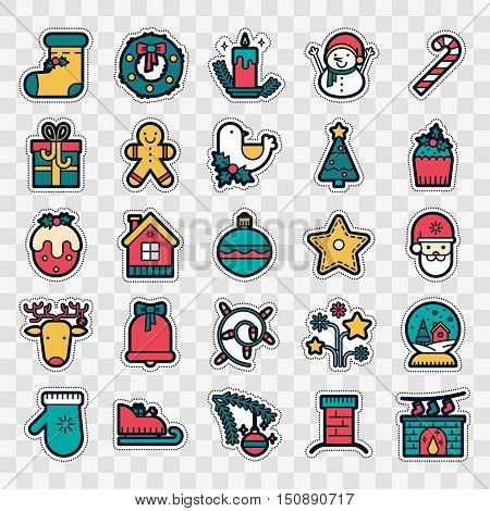Set of Fashion patch badges with christmas elements - deer wreath snowman Santa Claus bell and other. Perfect xmas design for stickers pins patches. Vector illustration isolated on white background.