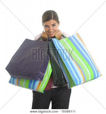 Woman shooping isolated in a white background
