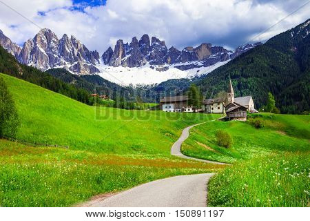 Pictorial Alpine scenery - Dolomites mountains, North of Italy