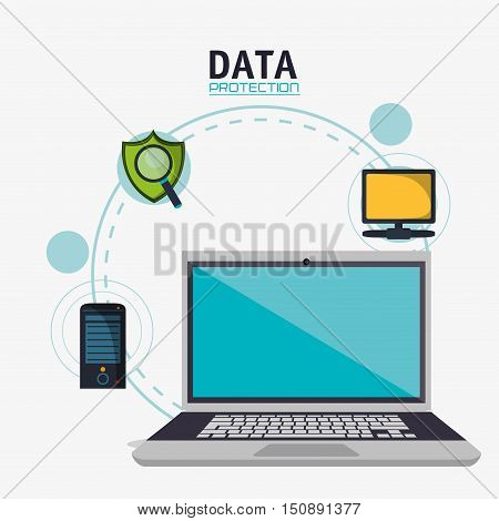 Laptop shield and computer icon. Security system warning and protection theme. Colorful design. Vector illustration
