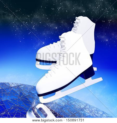 Figure skating. The skates for figure skating are located on ice on a dark blue background. 3D illustration