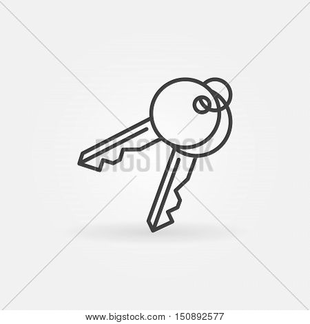 Keys vector icon. House door key pair thin line symbol or logo element