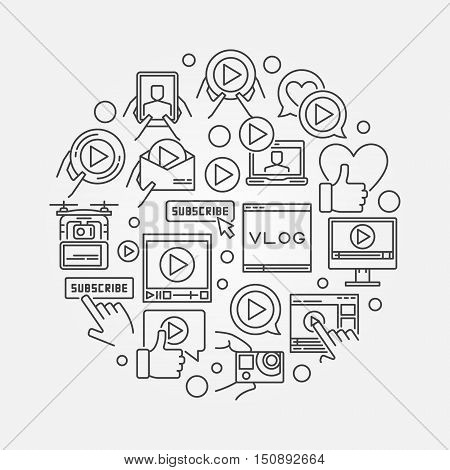 Video blog line illustration. Round outline symbol made with video blogging and vlog icons