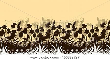 Horizontal Seamless Floral Background, Landscape with Ipomoea Flowers, Leaves and Grass Silhouettes. Vector