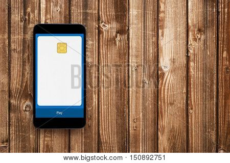 Mobile wallet concept. Blank credit card on smartphones screen