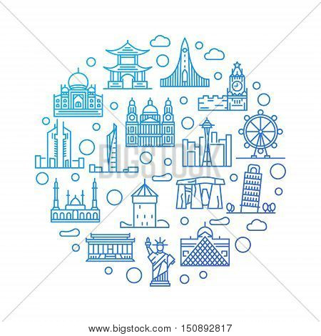 World landmarks colorful illustration. Vector outline round travel blue symbol made with monuments and landmarks symbols