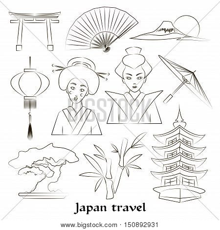 Japan icon set. Travel concept. Traditional clothes and cuisine, authentic architecture and nature. Japanese cultural symbols.