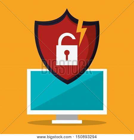 Computer padlock and shield icon. Security system warning and protection theme. Colorful design. Vector illustration