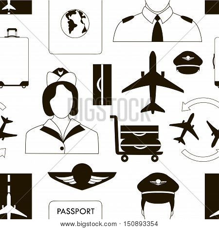 Pilot and stewardess at work during the flight and at the airport pattern