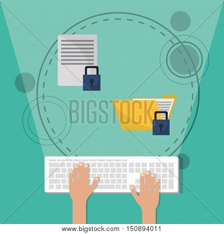 Keyboard document and padlock icon. Security system warning and protection theme. Colorful design. Vector illustration