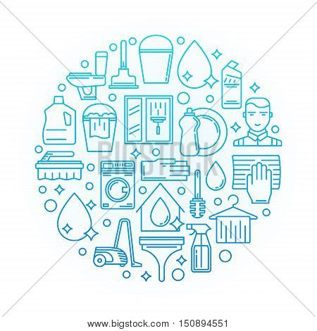 House cleaning blue illustration. Vector round cleaning service sign in thin line style on white background