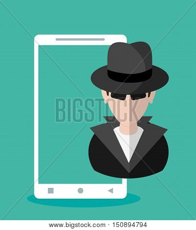 Hacker cartoon and smartphone icon. Security system warning and protection theme. Colorful design. Vector illustration