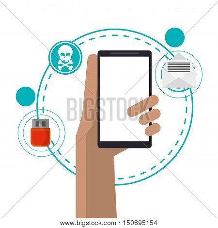 Smartphone icon. Security system warning and protection theme. Colorful design. Vector illustration
