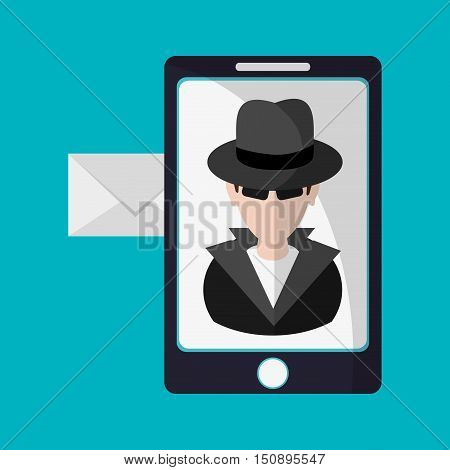 Hacker cartoon envelope and smartphone icon. Security system warning and protection theme. Colorful design. Vector illustration