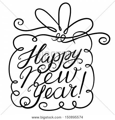 Happy New Year lettering composition. Vector hand drawn calligraphic letters and background for seasonal greeting - cute gift box with line art bow
