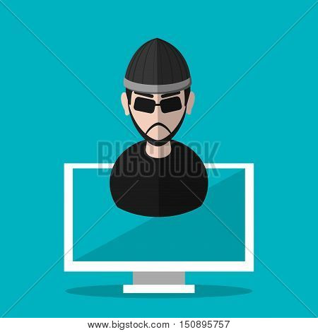 Hacker cartoon and computer icon. Security system warning and protection theme. Colorful design. Vector illustration