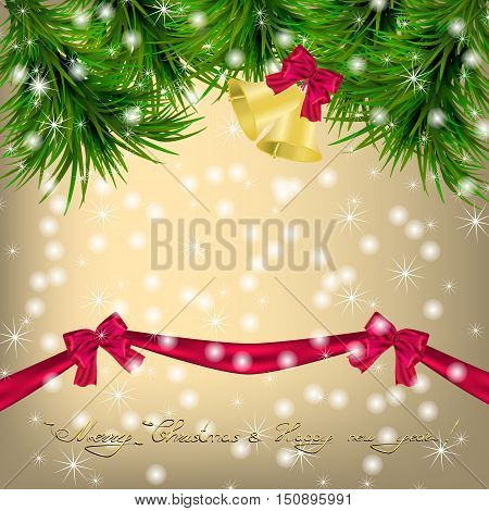 Golden Christmas and New Year Greeting card with Christmas tree snowflakes bows ribbon and jingle bells