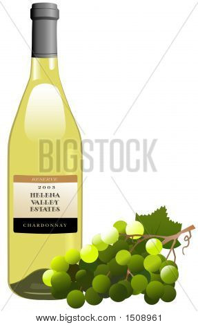 White Wine Bottle & Grapes