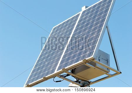 new solar panel on the sky background