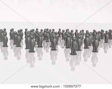 A group of grey mans on the white background 3D illustration.