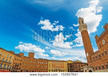 blue sky over Piazza del Campo in Siena Italy