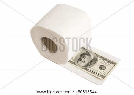 One hundred dollars in toilet paper isolated on white
