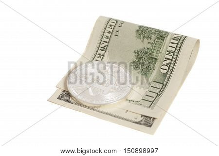 Silver bitcoin coin and one hundred dollar banknote isolated on white