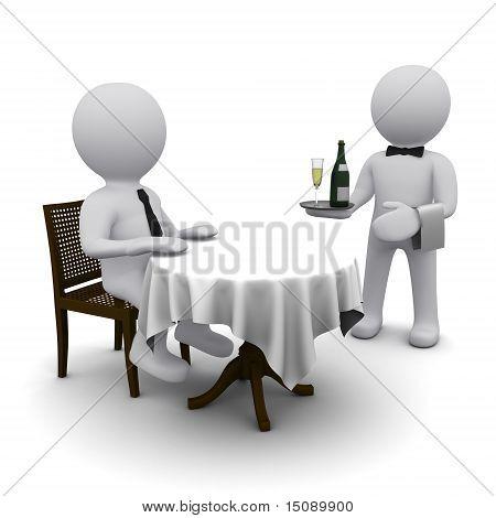 small three-dimensional man dines