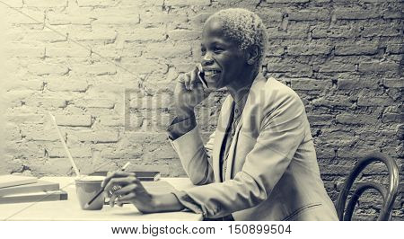 African Descent Business Woman Phone Call Restaurant Black and White Concept