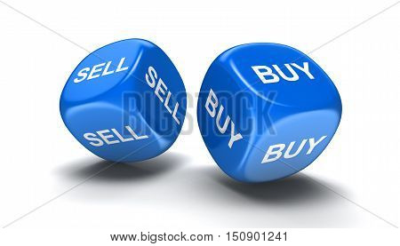 3D Illustration. Dices with sell, buy. Image with clipping path
