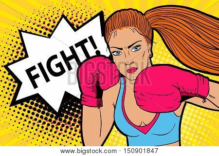 Sexy Aggressive Woman Boxer In Boxing Mittens Ready To Fight. Vector Hand-drawn Colorful  Background