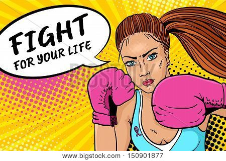 Fight For Your Life. Sexy Aggressive Woman Boxer In Boxing Gloves With Pink Ribbon On Her Breast Rea