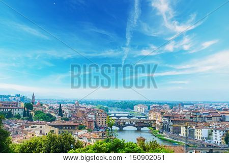 Arno river in Florence on a clear day Italy