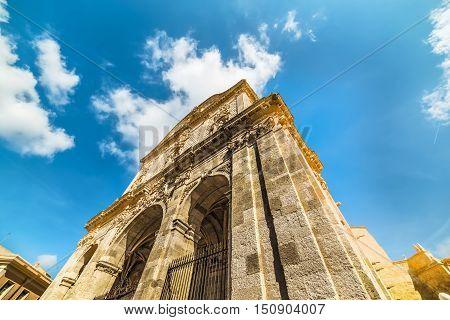 blue sky over San Nicola cathedral Sassari