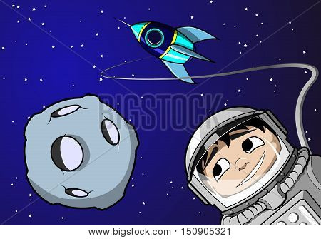 Astronaut boy in space with rocket and asteroid