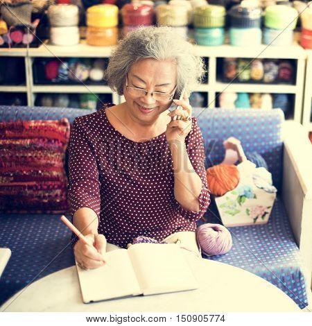 Knitting Handcraft Leisure Activity Recreational Pursuit Retirement Concept