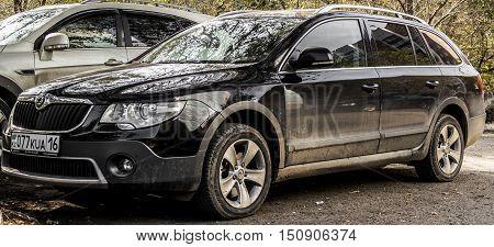 Kazakhstan, Ust-Kamenogorsk, october 7, 2016: Skoda Superb, new car, new czech car in the street