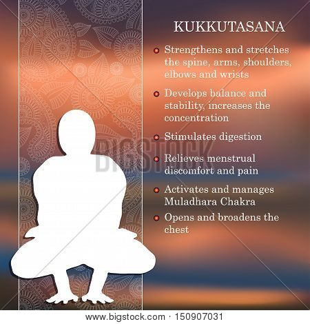 Yoga pose infographics, benefits of practice Kukkutasana