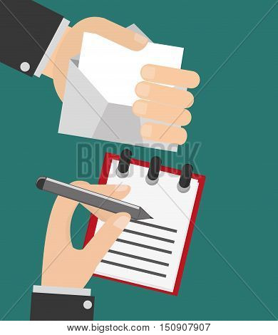 person writing letter and hand holding envelope image vector illustration