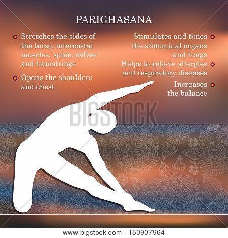 Yoga pose infographics, benefits of practice Parighasana