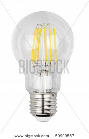 Filament LED bulb isolated on white background with clipping path