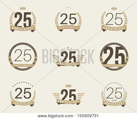 Twenty five years anniversary logotype with branches, ribbons, wings, crowns. 25th anniversary logo collection. Vector illustration.
