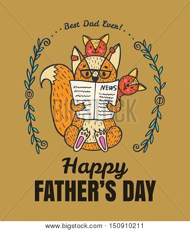 Father's Day card. Vector illustrated card with fox character family.