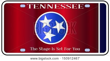 Tennessee state license plate in the colors of the state flag with the flag icons over a white background