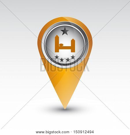 map pointer hotel five stars.Single symbol with stars